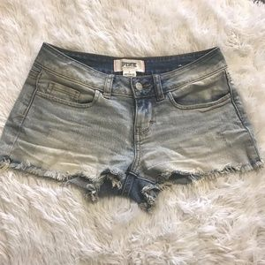 PINK Raw Hem Distressed Cut Off Jean Shorts 0